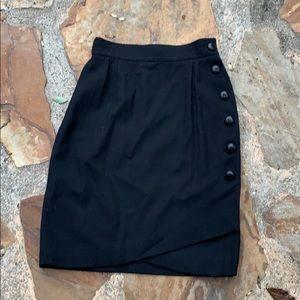 Escada black wrap skirt wool mix 34 or 00